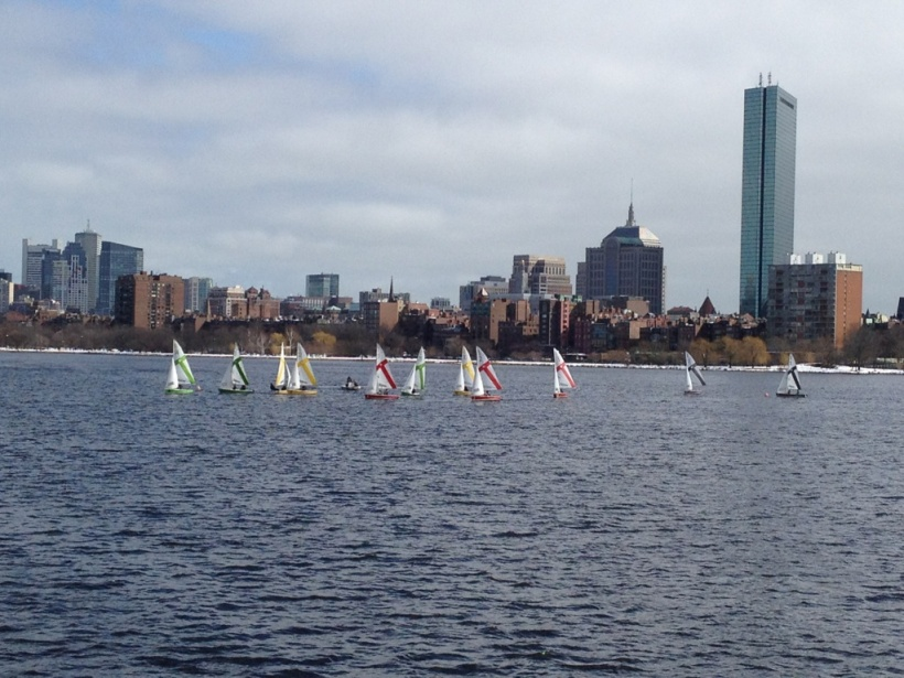Sail boats on the Charles River in Boston